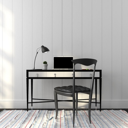 Elegant black chair and table in white interior Standard-Bild
