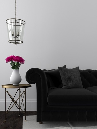 The elegant interior of a living room with a sofa and a black metal desk Standard-Bild