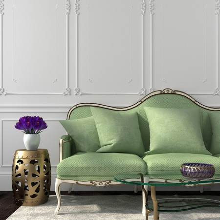 Beautiful Living in a classic style with an emphasis on green sofa