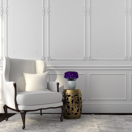 Classic interior in white color with beautiful chair and golden table