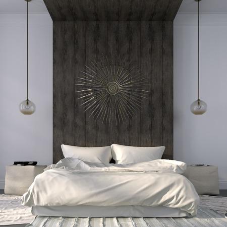 Moderne slaapkamer in lichte kleuren, met de nadruk op de houten richel achter het bed