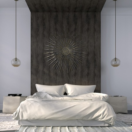 Modern bedroom in light colors with emphasis on the wooden ledge behind the bed Standard-Bild