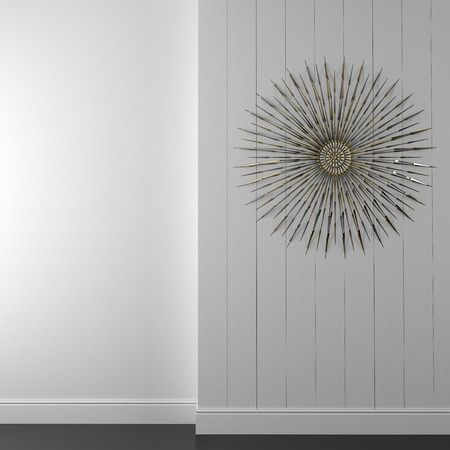 wall decor: Trendy wall decor of white boards, decorated with golden decor