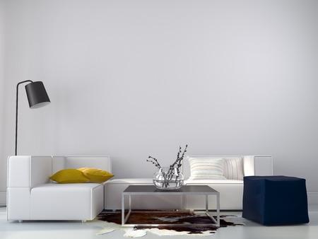 Huiskamerachtige interieur in een minimalistische stijl met felle accenten