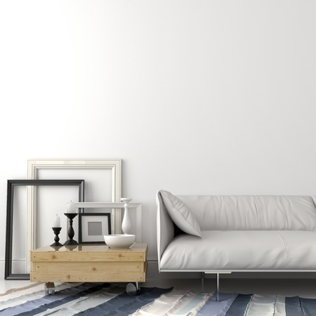 Modern living room with a leather sofa and a coffee table in light wood photo