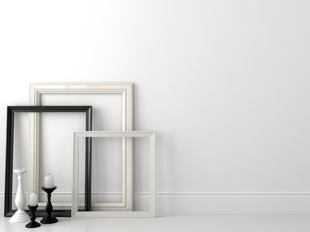 Classical composition in black and white colors, consisting of frames and candlesticks