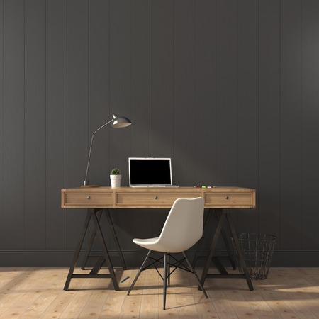 white laptop: Scrivania in legno e sedia moderna contro un muro grigio