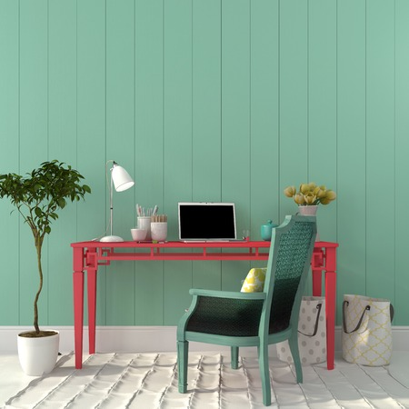 Interior of a home office of a pink desk and a turquoise chair Standard-Bild