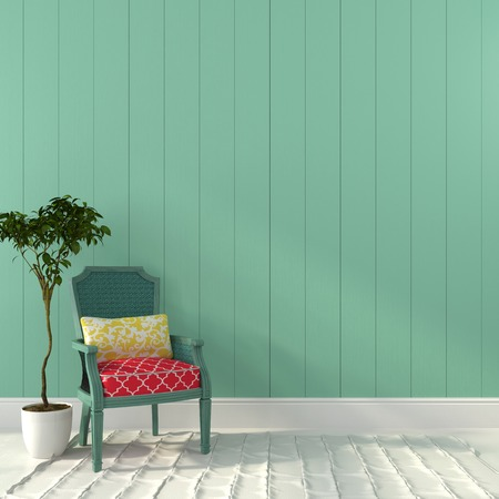 domestic room: Beautiful vintage chair and a plant against the background a turquoise wall