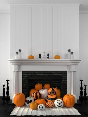 calabaza: Chimenea blanca hermosa en el estilo clásico contra una pared blanca y decorado con calabazas pintadas