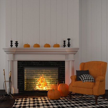The interior of the living room which is decorated for Halloween with a bright orange armchair near the fireplace and pumpkins