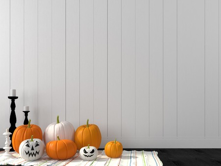 Decorations for Halloween against the wall of white boards Stockfoto