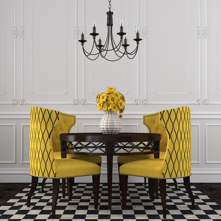 The stylish interior of the dining room, with a focus on the yellow color and black pattern Banco de Imagens