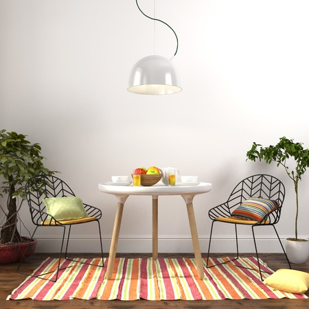 Modern dining room with colored decoration and plants on the sides