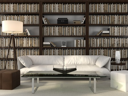 Modern office with scaffolding for books and leather furniture photo