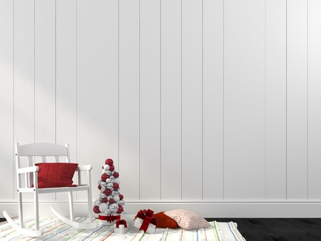 hues: Festive composition of the interior in white and red hues Stock Photo