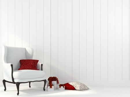 red chair: Festive composition of the interior in white and red hues Stock Photo