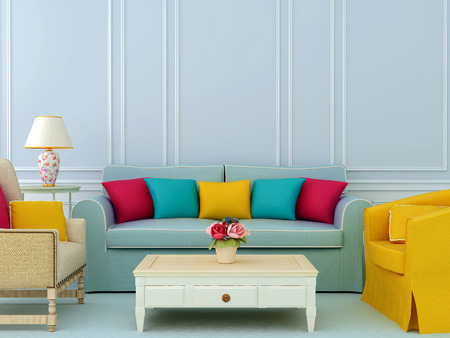 Beautiful composition of blue sofa and bright chairs with colorful pillows