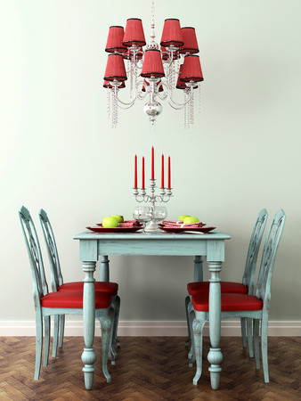 Interior in celebratory blue and red colors with laid table, chairs and lamp photo