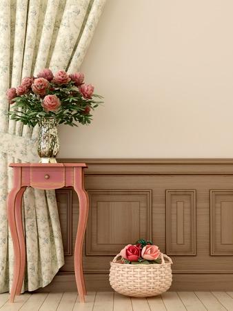cortinas: Composici�n en el estilo de la Provenza, que consiste en la antig�edad de la consola de color rosa y flores en contra de las cortinas y paredes de color beige Foto de archivo