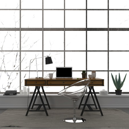 home office interior: Modern interior of home office with a transparent chair and a large window
