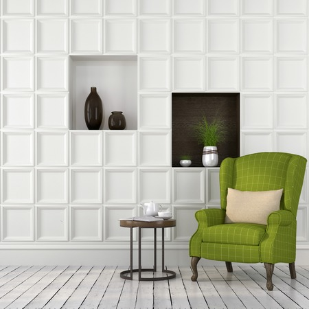 Interior with spring mood of the green chair on the background of stylized wall panels Stock Photo
