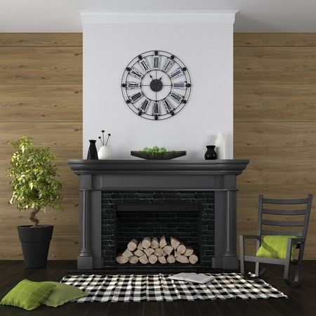 emphasis: Classic black fireplace on a background of a wall from boards and an emphasis on green decor