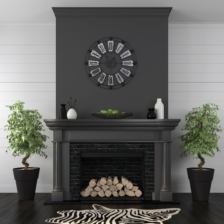 Living room in a classic style with a black fireplace on white wall from boards