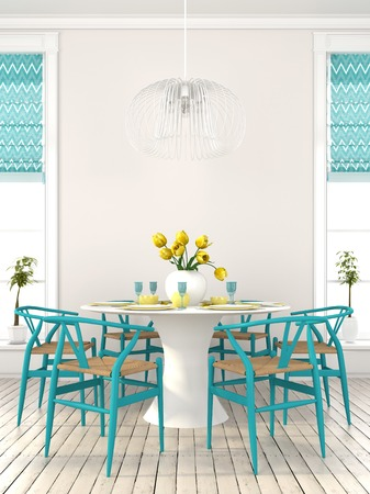The bright dining room with blue furniture and yellow decor