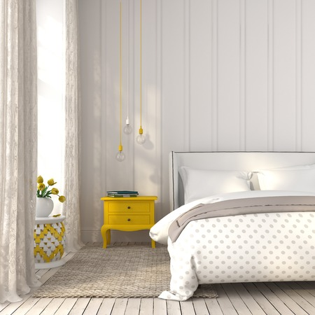 bedroom wall: Modern bedroom in white color with yellow accents