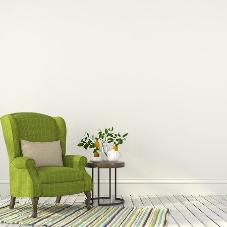 White interior with green armchair and a wooden table 스톡 콘텐츠