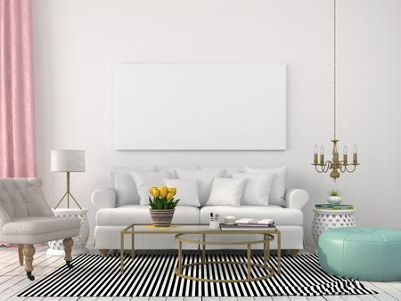 Interieur woonkamer met licht meubilair en decor gemaakt van messing