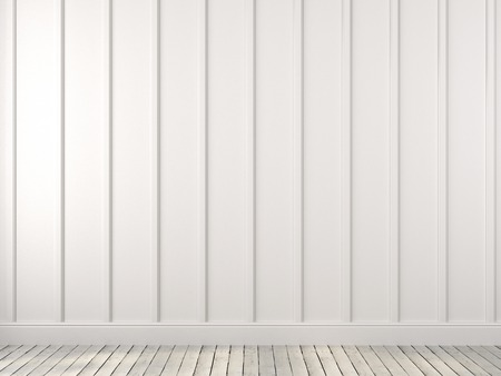baseboard: A white wall with vertical stripes made of planks and parquet