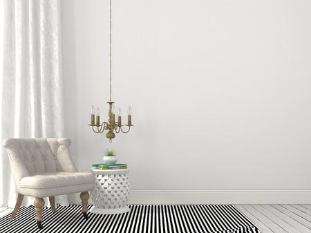 Light beige interior with elegant armchair and a bronze chandelier