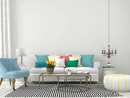 green couch: White interior of living room with colorful pillows