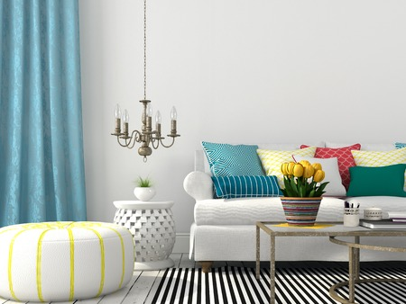 White interior of living room with colorful pillows and blue curtain