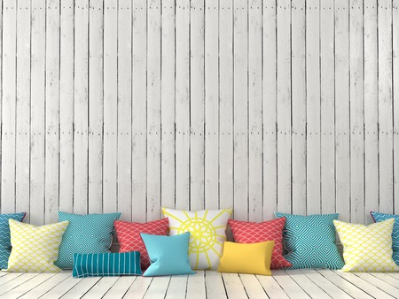 colorful: Colorful cushions on the background of a wall with white boards