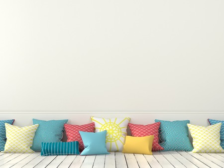 Colorful cushions on the background of a white wall