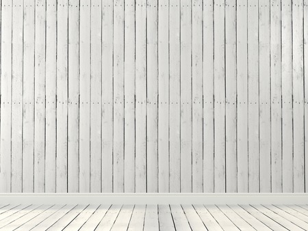 Background of the interior, where the walls and floor are covered with white boards