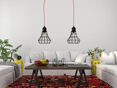 Moderne woonkamer met witte meubels, houten tafel en modieuze kroonluchters