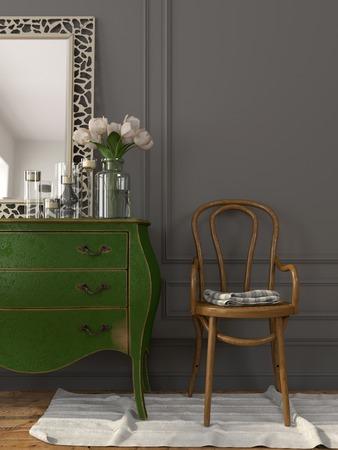 espejo: El interior en el estilo vintage con un pecho verde de cajones y una silla de madera