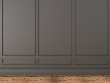 Background of a classic gray wall and wooden parquet