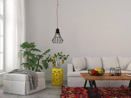 muralla china: Moderna sala de estar con muebles blancos, mesa de madera y l�mpara de ara�a de moda