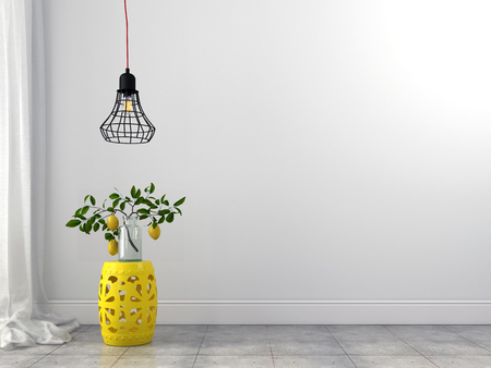 Stylish yellow stool and wire chandelier in a white interior Standard-Bild