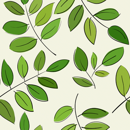 branches with leaves: Seamless pattern with beautiful branches with green leaves Illustration