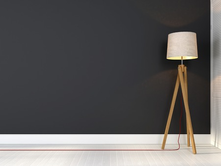 Stylish tripod lamp with red wire on a background of gray wall 스톡 콘텐츠