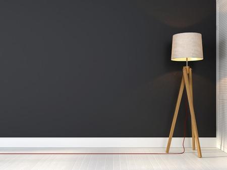 Lámpara trípode con estilo con el cable rojo sobre un fondo de la pared gris Foto de archivo