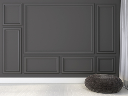 baseboard: Stylish knitted ottoman near gray wall with frames