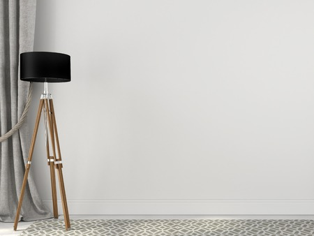 Stylish tripod floor lamp near the linen curtains on a white wall Stock Photo