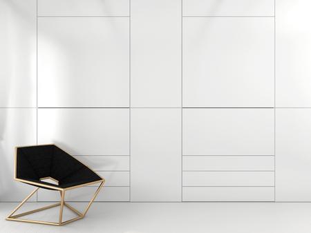 Stylish geometric chair with brass frame near the white closet Standard-Bild